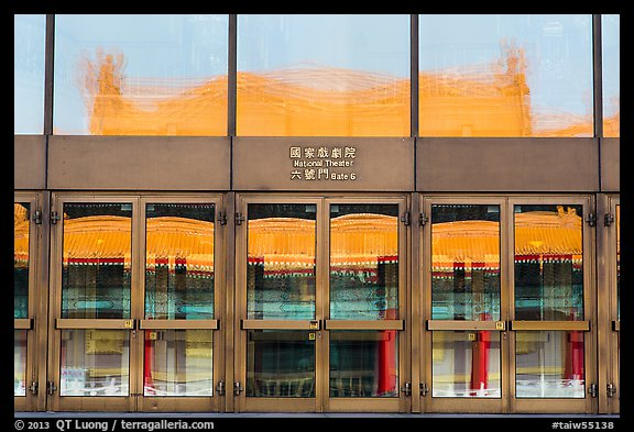 Reflections in National Theater entrance doors. Taipei, Taiwan