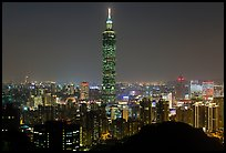 Xinyi district and Taipei 101 at night. Taipei, Taiwan ( color)