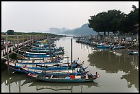Small boat harbor along Damshui River. Taipei, Taiwan ( color)