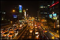 Traffic by night. Taipei, Taiwan (color)