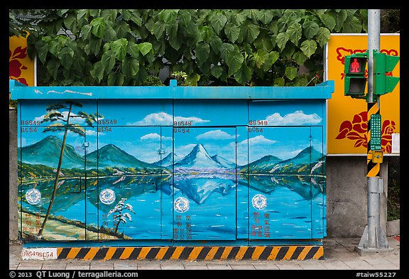 Electric utility boxe with nature landscape painting. Taipei, Taiwan (color)