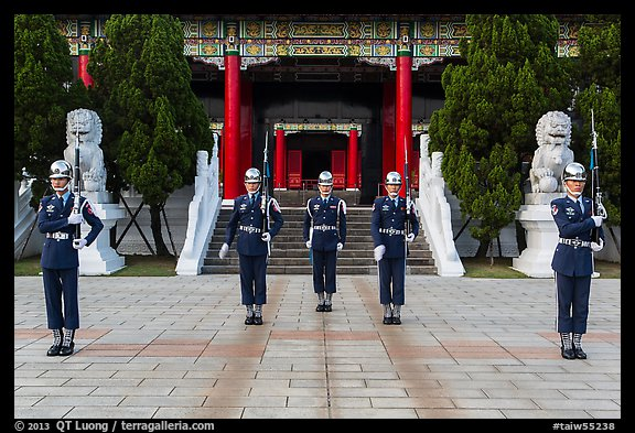National Revolutionary Martyrs Shrine with honor guards in front. Taipei, Taiwan (color)