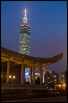 Sun Yat-sen Memorial Hall and Taipei 101 at dusk. Taipei, Taiwan ( color)