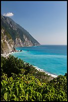 Sea cliffs and Pacific Ocean. Taroko National Park, Taiwan ( color)