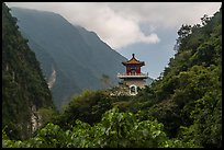 Lush mountains and Changuang Temple. Taroko National Park, Taiwan ( color)