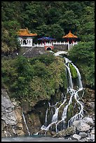 Changchun Shrine and waterfall. Taroko National Park, Taiwan ( color)