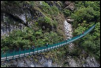 Suspension bridge with hikers. Taroko National Park, Taiwan ( color)