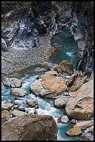 Boulders, marbled walls, and azure stream,. Taroko National Park, Taiwan ( color)