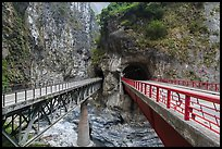 Bridges spanning Liwu River, Taroko Gorge. Taroko National Park, Taiwan (color)