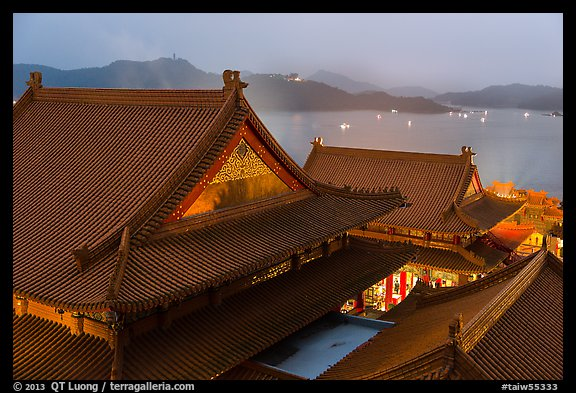 Wen Wu temple at dusk overlooking lake. Sun Moon Lake, Taiwan (color)