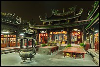 Courtyard, Tienhou (Matzu) Taoist Temple at night. Lukang, Taiwan (color)