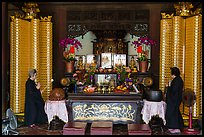 Main hall altar during buddhist service, Longshan Temple. Lukang, Taiwan (color)