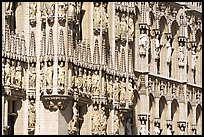 Detail of the gothic town hall facade. Brussels, Belgium