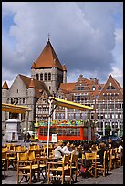 Outdoor cafe terrace, Grand Place. Tournai, Belgium ( color)