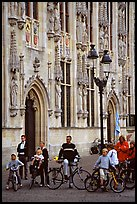 People standing on the Burg, in front of the Stadhuis. Bruges, Belgium ( color)