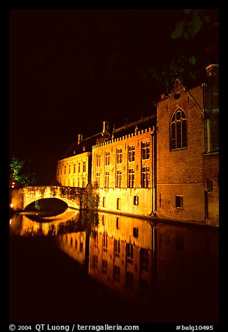 Houses and bridge reflected in canal at night. Bruges, Belgium (color)