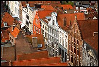 Red tile rooftops and facades. Bruges, Belgium
