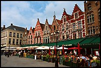 Restaurants and old houses on the Markt. Bruges, Belgium
