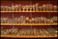 Large variety of glasses used to drink specific beers. Bruges, Belgium