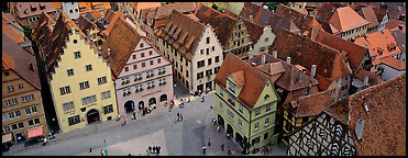 Medieval town of Rothenburg. Rothenburg ob der Tauber, Bavaria, Germany (Panoramic color)