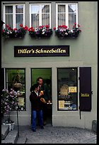 Pastry store specializing Schneeballen, a local specialty. Rothenburg ob der Tauber, Bavaria, Germany ( color)