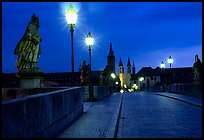 Alte Mainbrucke (bridge) at night. Wurzburg, Bavaria, Germany ( color)
