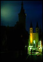 Rathaus and Neumunsterkirche seen fron Alte Mainbrucke (bridge) at night. Wurzburg, Bavaria, Germany ( color)