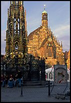 Schoner Brunnen (fountain) and Liebfrauenkirche (church of Our Lady) on Hauptmarkt. Nurnberg, Bavaria, Germany (color)