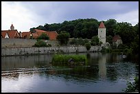 Duck pond and rampart walls, Dinkelsbuhl. Bavaria, Germany (color)
