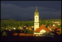 Nesselwang and St Andreas church, storm light. Bavaria, Germany ( color)