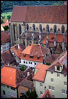 House rooftops and Kirche Sankt-Jakob seen from the Rathaus tower. Rothenburg ob der Tauber, Bavaria, Germany ( color)