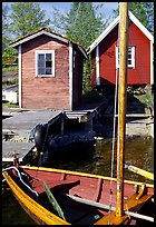 Boat and cabins. Gotaland, Sweden ( color)