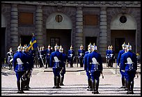 Royal Guard in front of the Royal Palace. Stockholm, Sweden (color)