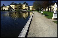 Basin and an alley in royal residence of Drottningholm. Sweden ( color)