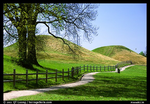 The three great grave mounds at Gamla Uppsala, said to be the howes of legendary pre-Vikings kings. Uppland, Sweden