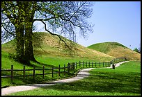 The three great grave mounds at Gamla Uppsala, said to be the howes of legendary pre-Vikings kings. Uppland, Sweden (color)