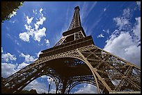 Wide view of Eiffel tower from its base. Paris, France ( color)