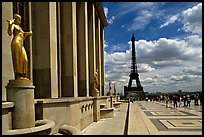 Maillol sculpture, Palais de Chaillot, and Eiffel tower. Paris, France ( color)