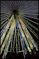 Lighted Ferris wheel in the Tuileries garden. Paris, France