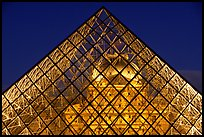 Louvre seen through pyramid at night. Paris, France ( color)