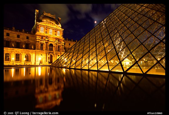 Louvre, Pei Pyramid and basin  at night. Paris, France (color)