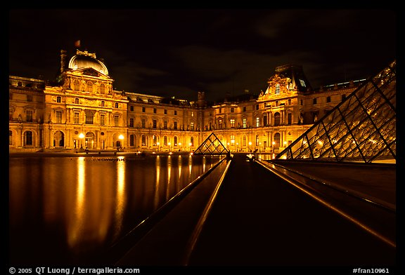 Louvre  at night. Paris, France