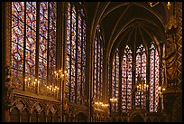 Sainte Chapelle haute covered with stained glass. Paris, France ( color)
