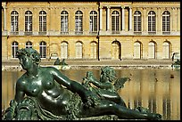 Statue, basin, and facade, afternoon, Palais de Versailles. France ( color)