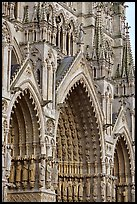 Side view of Cathedral facade, Amiens. France