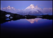 Aiguille Verte reflected in pond at dusk, Chamonix. France