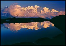 Mont Blanc reflected in pond at sunset, Chamonix. France ( color)