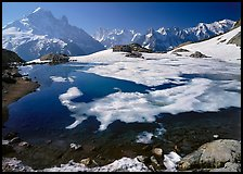 Partly Frozen Lac Blanc, Aiguille Verte, and Mont-Blanc range, Chamonix. France ( color)