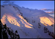 Mont Blanc and Dome du Gouter, early morning light, Chamonix. France