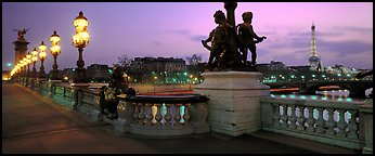 Alexander III bridge and Eiffel tower at dusk. Paris, France (Panoramic color)